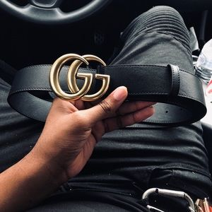 GUCCI LEATHER GG BELT size 32-34